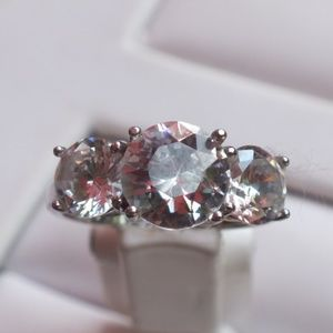 Cubic Zirconia Stones Set in Sterling Silver 5 1/4